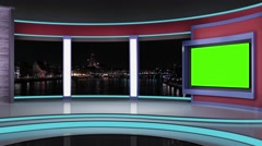 News TV Studio Set 192- Virtual Green Screen Background Loop - stock footage