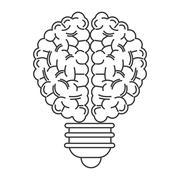 human brain lightbulb icon - stock illustration