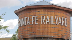 Establishing Pan of the Santa Fe Railyard Wooden Water Tower Stock Footage