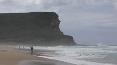 Ocean Coastal Beach Scene in Australia Person Fishing Stock Footage