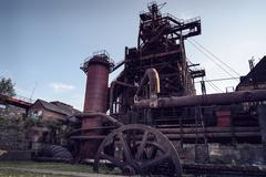 View of old blast furnace - stock photo