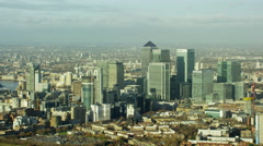 Aerial view of buildings in Canary Wharf London UK Stock Footage