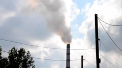 Pipe with smoke in the industrial area Stock Footage