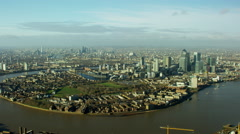 Aerial view of cityscape of London UK Stock Footage