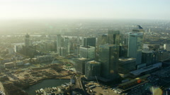 Aerial view of financial district Canary Wharf London UK Stock Footage
