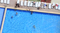 People swim in water the swimming pool at hotel. Top view . Turkey Stock Footage