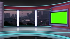 News TV Studio Set 193- Virtual Green Screen Background Loop - stock footage