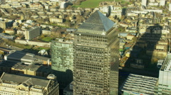 Aerial view of buildings in financial district Canary Wharf London UK Stock Footage