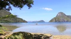 Sea water in tropical beach in El Nido, Philippines Stock Footage
