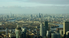 Aerial view of River Thames and city buildings London UK Stock Footage