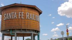 Establishing Wide Shot of the Santa Fe Railyard Wooden Water Tower Stock Footage