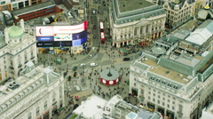 Aerial view of famous sights in Piccadilly Circus London UK Stock Footage