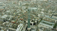 Aerial view of GPO Tower London England Stock Footage