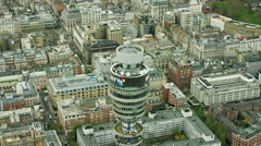 Aerial view of GPO Tower London UK Stock Footage