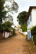 streets of the historical town Tiradentes Brazil - stock photo