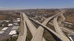 Aerial Road, San Diego Fwy California Stock Footage