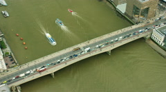 Aerial view of people and boats on River Thames London England Stock Footage