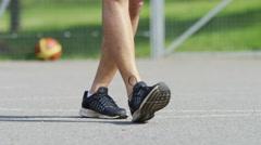 4K Legs of unseen male skipping fancy Stock Footage