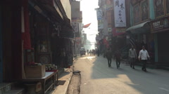 KATHMANDU, NEPAL –  MARCH 21 2016: Asia city road HD video. Street traffic Stock Footage