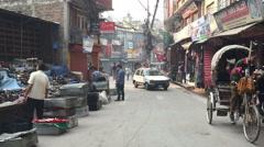 KATHMANDU, NEPAL –  MARCH 21 2016: Asia city road HD video. Street traffic - stock footage