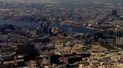 Flight Aerial Dubai United Arab Emirates. City and skyscrapers HD travel video. Stock Footage