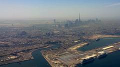 Flight aerial Dubai United Arab Emirates HD travel video. City skyscrapers piers Stock Footage