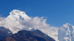Clouds nature background time-lapse HD video. Sky cloudscape mountain Himalayas - stock footage
