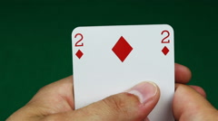 Four of a kind poker hand and game table Stock Footage