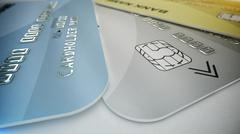3d rendering. Set of color credit cards isolated on white background. Shoppin Piirros