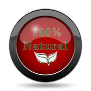 100 percent natural icon. Internet button on white background.. Stock Illustration