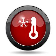 Snowflake with thermometer icon. Internet button on white background.. - stock illustration