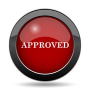 Approved icon. Internet button on white background.. - stock illustration