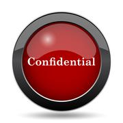 Confidential icon. Internet button on white background.. - stock illustration