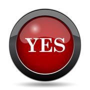 Yes icon. Internet button on white background.. - stock illustration