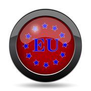 European union icon. Internet button on white background.. - stock illustration