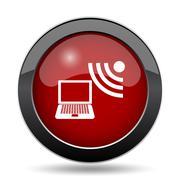 Wireless laptop icon. Internet button on white background.. Stock Illustration
