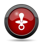 Pacifier icon. Internet button on white background.. - stock illustration