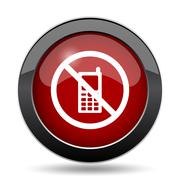 Mobile phone restricted icon. Internet button on white background.. - stock illustration
