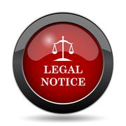 Legal notice icon. Internet button on white background.. - stock illustration