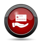 Hand holding credit card icon. Internet button on white background.. - stock illustration