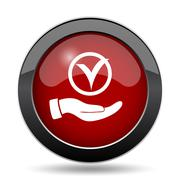 Tick with hand icon. Internet button on white background.. - stock illustration