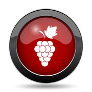 Grape icon. Internet button on white background.. - stock illustration