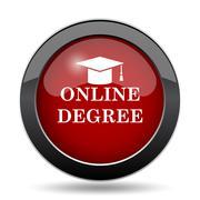 Online degree icon. Internet button on white background.. Stock Illustration