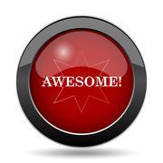 Awesome icon. Internet button on white background.. Stock Illustration