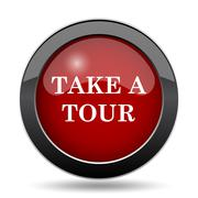 Take a tour icon. Internet button on white background.. - stock illustration