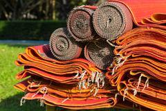 Pile of red asian rattan mat Stock Photos