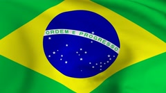 Flag of Federative Republic of Brazil Stock Footage