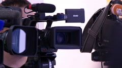 TV Cameras and Tripods on the Set Stock Footage