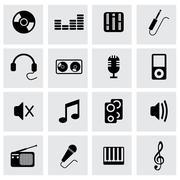 Vector black music icons set Stock Illustration