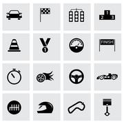 Vector black racing icons set - stock illustration